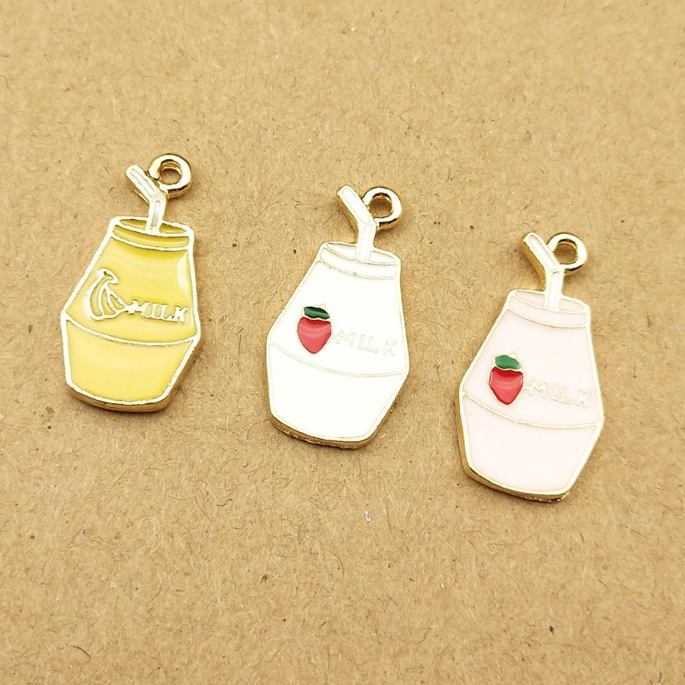 10 pçs 12x21mm esmalte garrafa de leite charme para fazer jóias moda charme pulseira encantos diy descobertas colar pingente