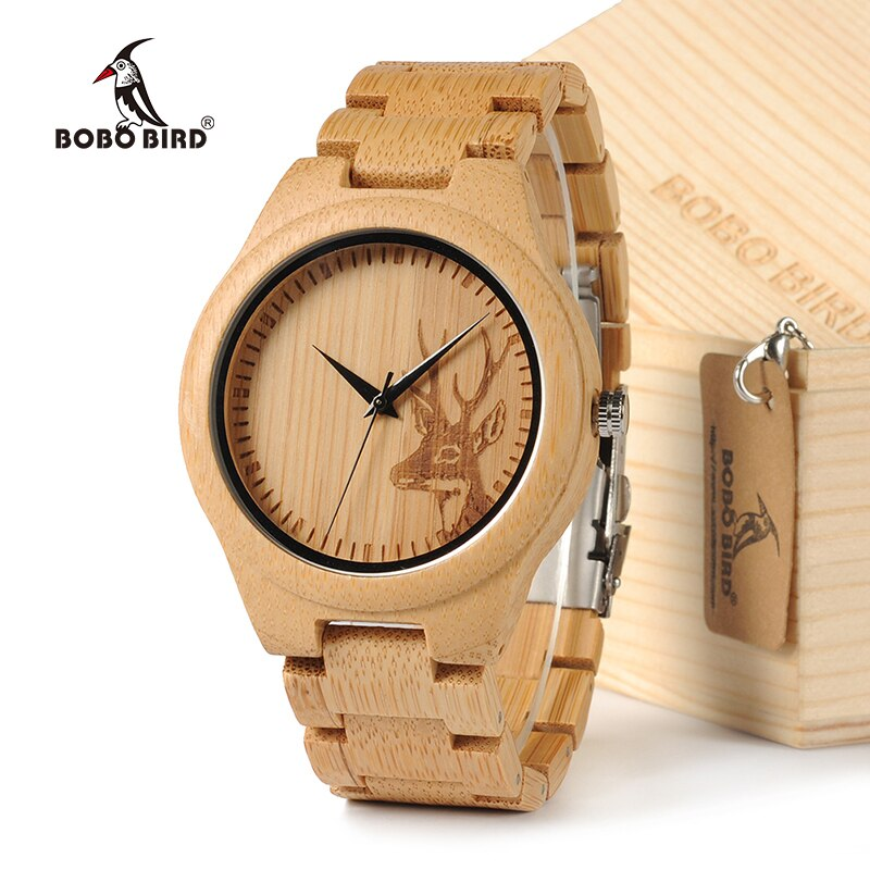 BOBOBIRD D28 часы из натурального бамбука с головой оленя гравированный циферблат с бамбуковым ремешком для подарка