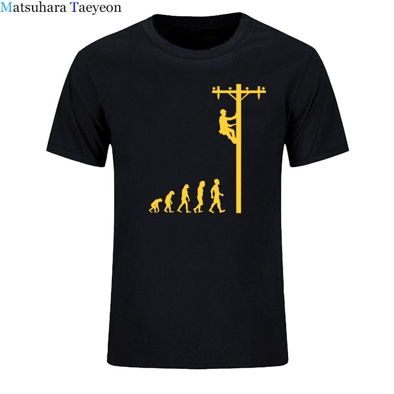 Camiseta divertida del electricista de la línea de la evolución ropa de algodón camisetas de cuello redondo para hombres camisetas de moda para hombres de manga corta Camiseta casual