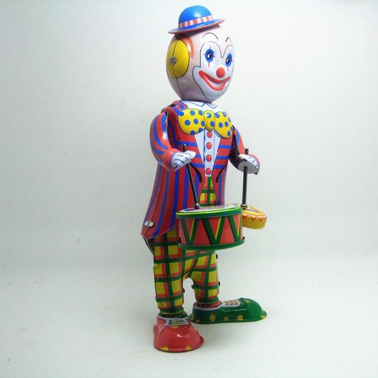 [Смешные] Классическая Коллекция Ретро заводные металлические ходячие оловянные игрушки барабанный клоун барабанщик робот механические игрушки Детский подарок