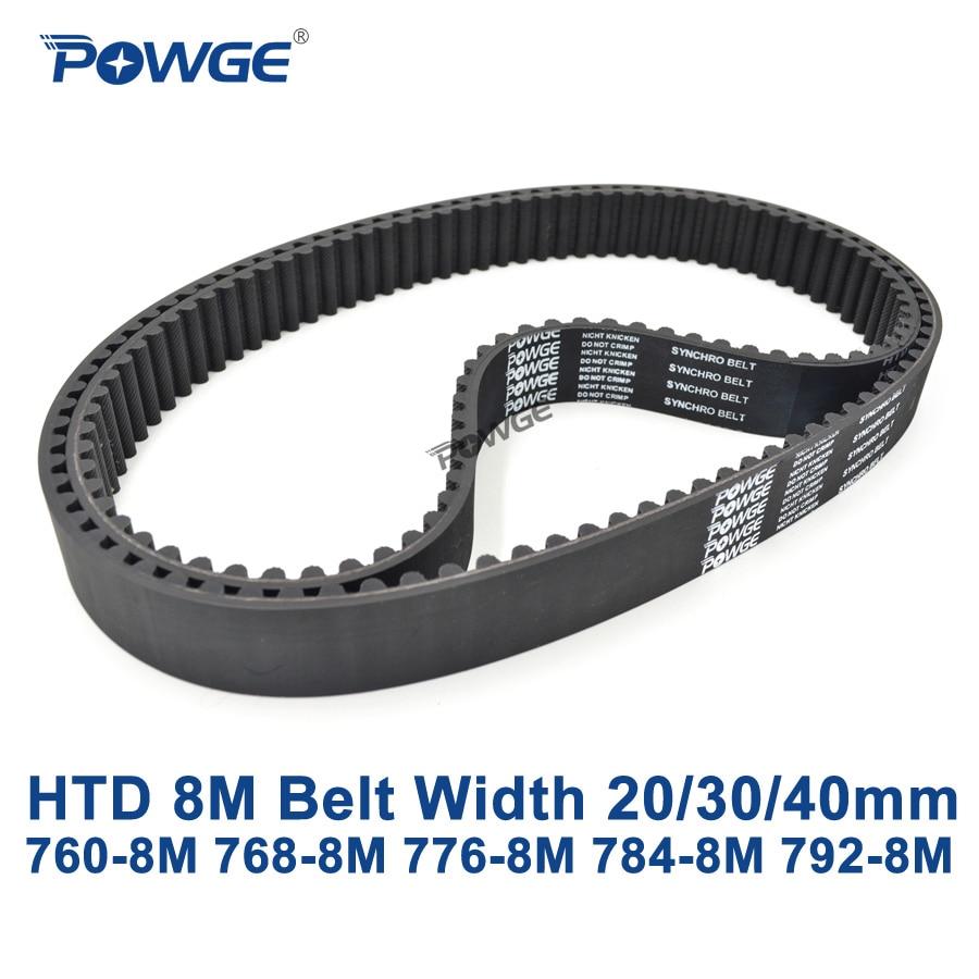 POWGE HTD 8M متزامن حزام C = 760/768/776/784/792 عرض 20/30/40 مللي متر الأسنان 95 96 97 98 99 HTD8M توقيت حزام 760-8M 776-8M 792-8M