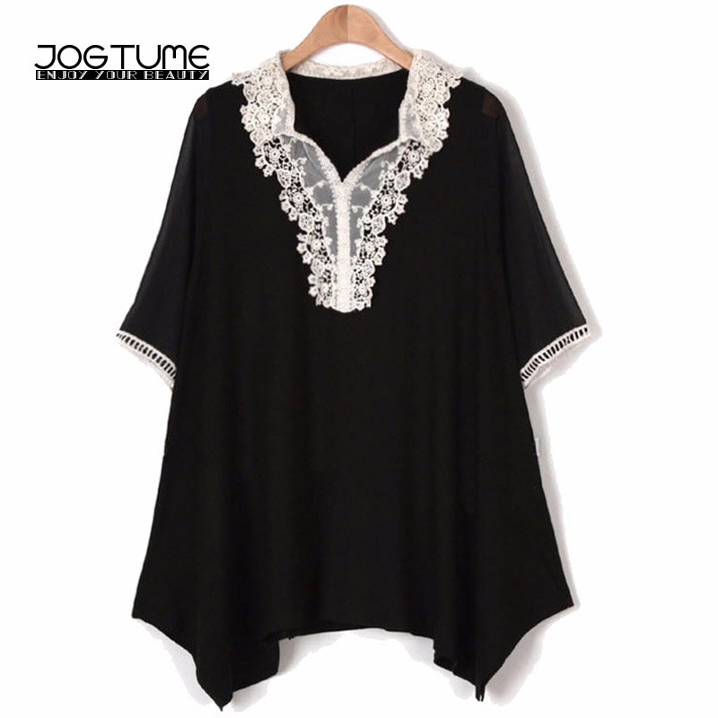 2018 camisa de verano para mujeres negro de talla grande 5XL moda femenina Vestido Casual cuello pico manga corta encaje costura mujer blusa suelta