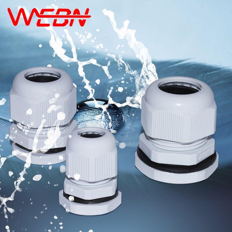 M12*1.5/M16*1.5/M18*1.5/M20*1.5/M22*1.5/M24*1.5/M25*1.5/M27*1.5 IP68 Waterproof Nylon Plastic Cable Gland White 100pcs/pack