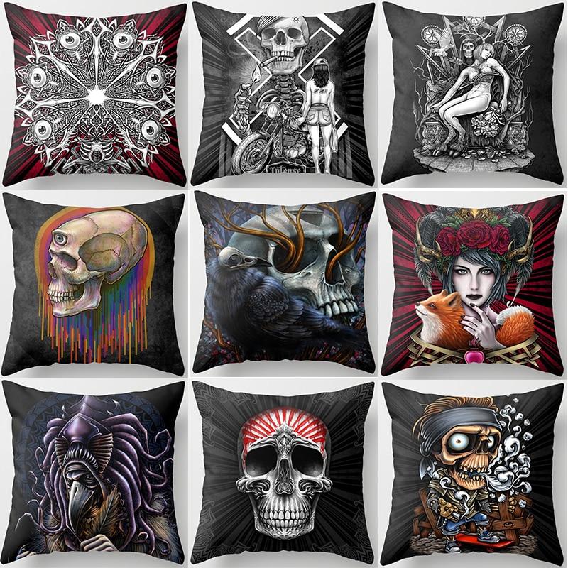Hot sale many styles  funny skull skeleton pattern women men Pillow case boys girls weeping willow case size 45*45cm