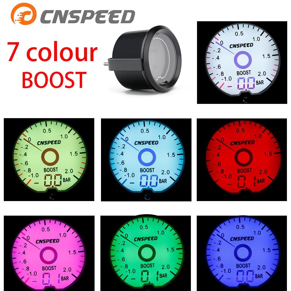 CNSPEED 2 pulgadas/52mm LCD Cristal líquido 7 Color Virtual puntero pantalla Turbo barra unidad negro Concha círculo YC101421