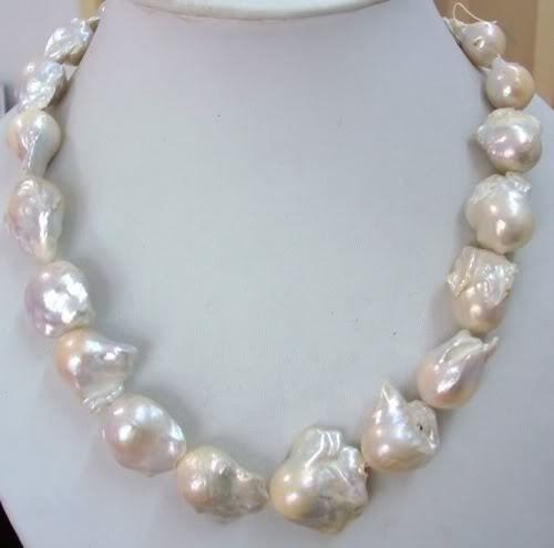 Huij 001480 de la joyería maravilloso grande 18 - 21 mm collar de perlas blancas