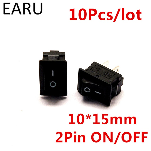 10pcs/lot G130 10*15mm SPST 2PIN ON/OFF Boat Rocker Switch 3A/250V for Auto Car Dash Dashboard Truck RV ATV Home Model KCD1