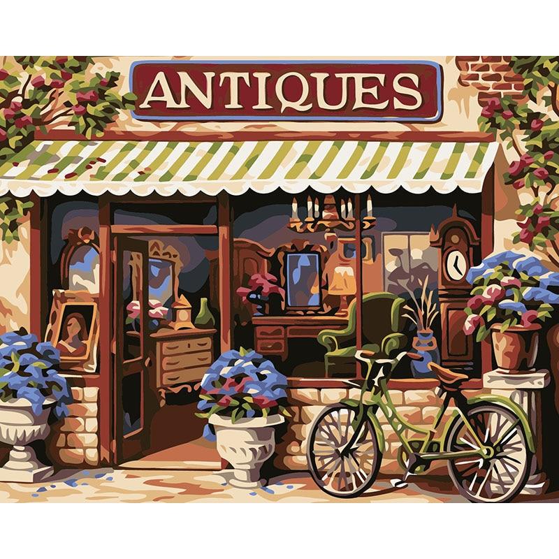 Tienda antigua, pintura hecha a mano, lienzo de alta calidad, hermosa pintura por números, regalo sorpresa, gran logro