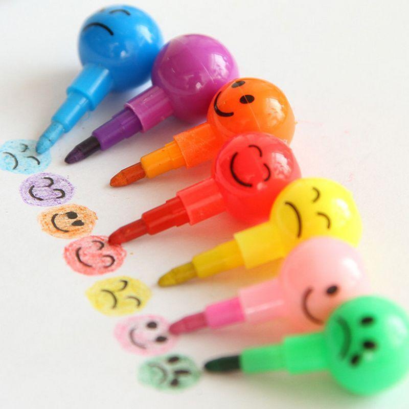 3 יחידות 7 צבעים עפרונות Creative האו האו האו מצופה סוכר קריקטורה חיוך גרפיטי עט מכתבים מתנות לילדים שעוות עפרון עיפרון