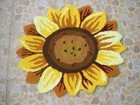 Sunflower Floral Shaped Doormat Handmade Rug Anti-slip Mat Colorful Floor Rug Personalized Custom Carpets Outdoor Mat 2x2