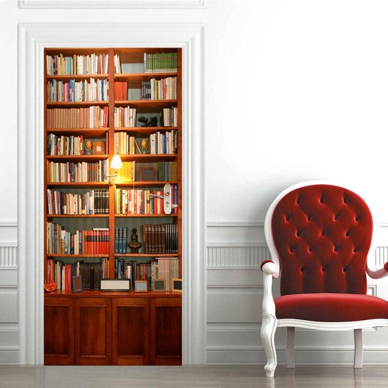 Pvc à prova dwaterproof água auto-adesivo 3d foto papel de parede livro porta do vintage adesivos criativo portas decorativas remodelado porta adesivo