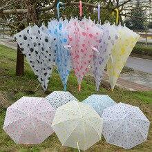 2019 New Dot Clear See Through Dome Umbrella Ladies Transparent Walking Rain Brolly Wedding Umbrellas Random Color