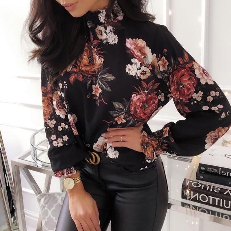 2019 mujer moda elegante Oficina ropa de trabajo Camisa de gasa mujer elástico puño superior Allover Floral estampado Blusa de manga larga