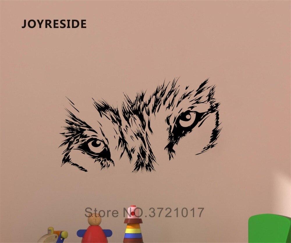 JOYRESIDE Beast Wild Animal pared Lobo calcomanía de ojos vinilo pegatina decoración hogar niños habitación sala de estar Interior arte murales A302