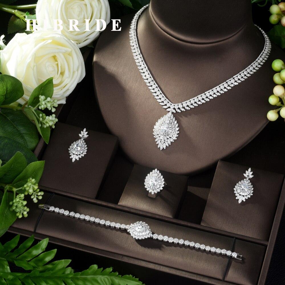HIBRIDE Luxury AAA CZ Bridal Jewelry Set 4pcs Sets Geometric Design Micro Pave Zirconia Jewelry Set NG Women Wedding Party N-968