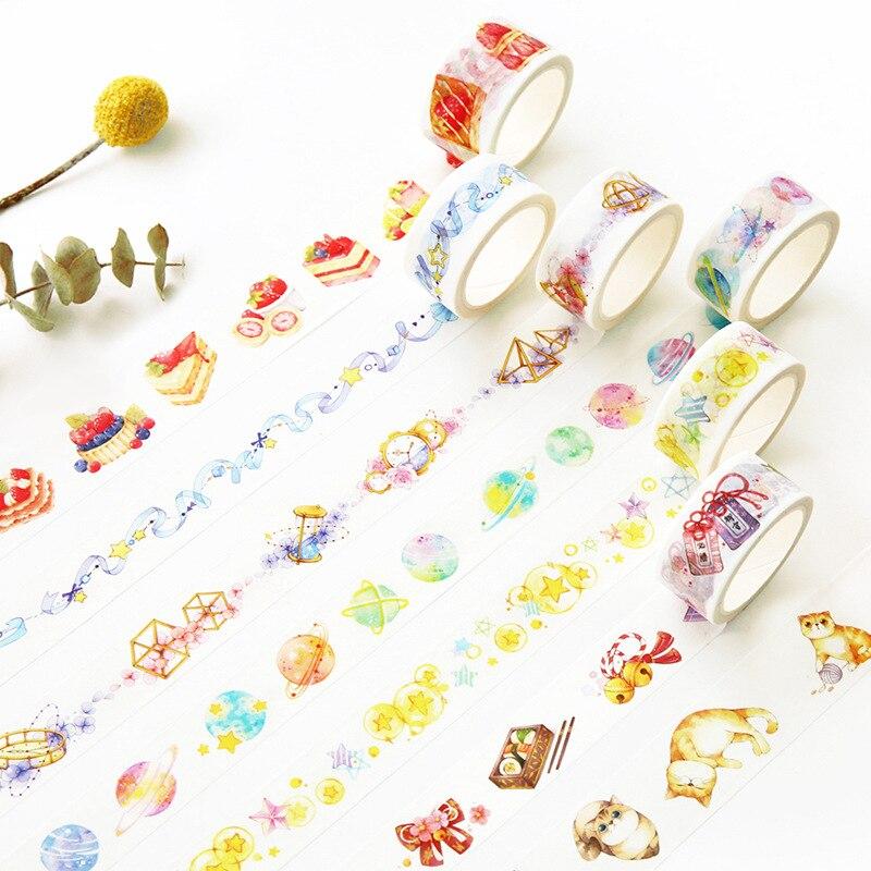 Cinta adhesiva Washi, colorida cinta adhesiva DIY para álbum de recortes, cinta adhesiva