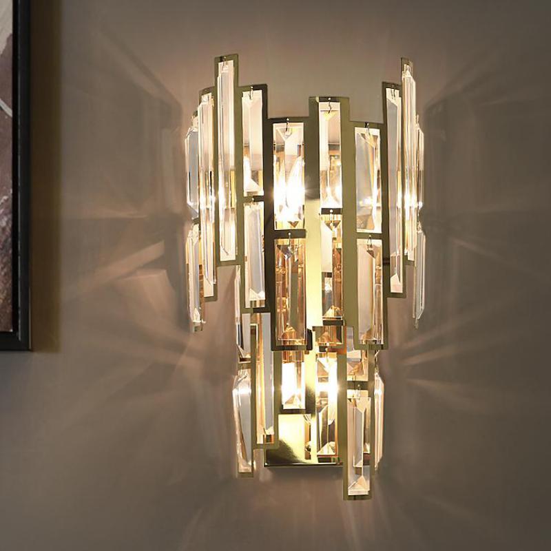 Accesorio de pared led para el hogar espejo grande led pared de cristal para el proyecto de la sala de estar Villa Pared De Oro sconce dormitorio Led luz de la pared