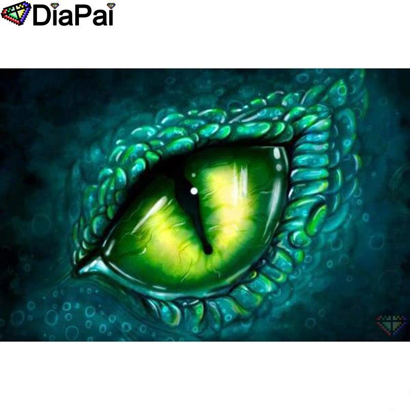 "Pintura de diamante DIAPAI 5D DIY 100% cuadrado completo/taladro redondo ""Ojo de Animal"" bordado de diamantes punto de cruz 3D decoración A24335"