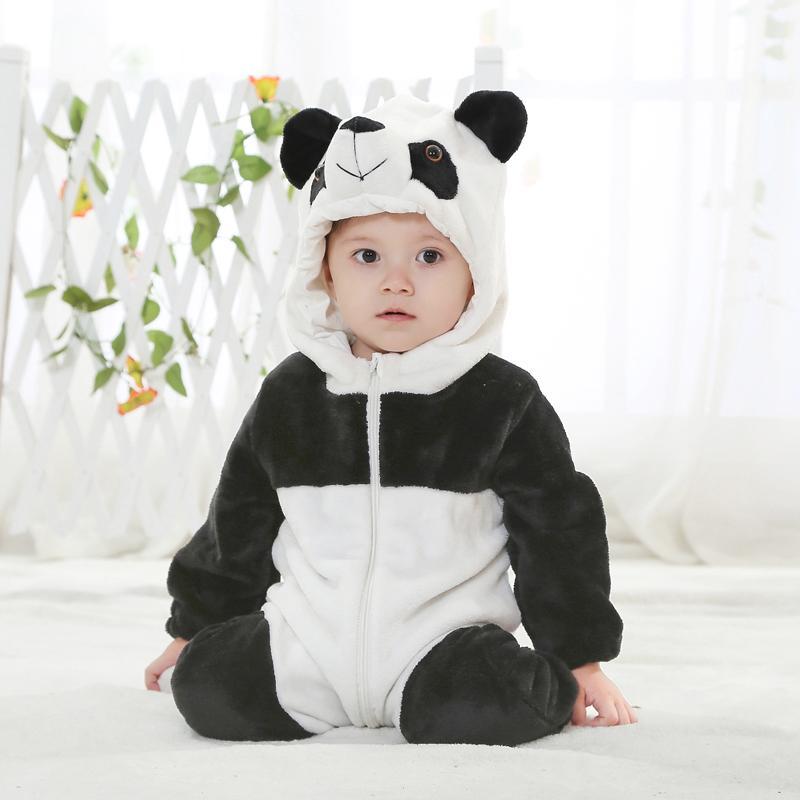 Флисовая детская одежда, белый черный комбинезон с животными, костюм на Хэллоуин, Детский комбинезон с пандой, детская одежда