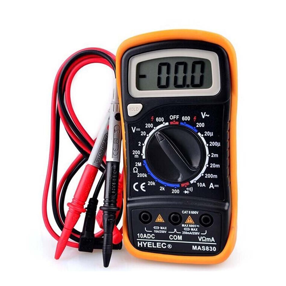 Multímetro Digital HYELEC MAS830, amperímetro de resistencia de corriente CC y voltaje CA, con alarma de timbre