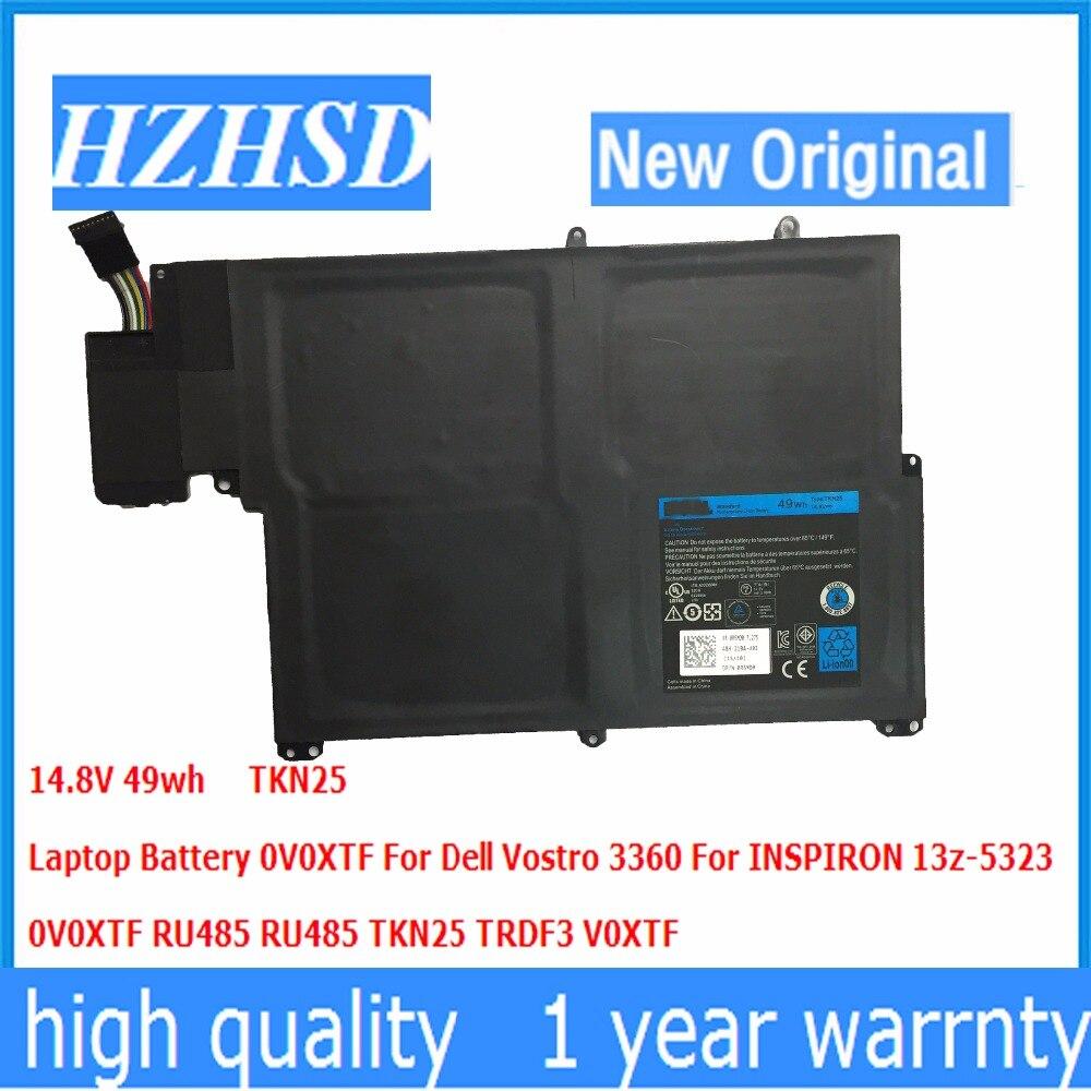 14.8V 49wh new original TKN25 Laptop Battery 0V0XTF For Dell Vostro 3360 For INSPIRON 13z-5323 0V0XT