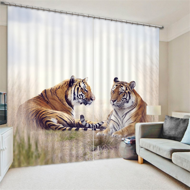 Cortinas opacas para ventana 3D con tigre león moderno 2017 para niños, dormitorio, sala de estar, Cortinas de hotel Cortinas