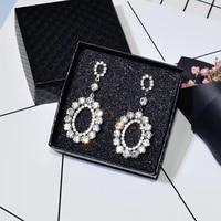ajojewel shining full rhinestone oval shaped party earrings for women match dress fashion jewelry wholesale