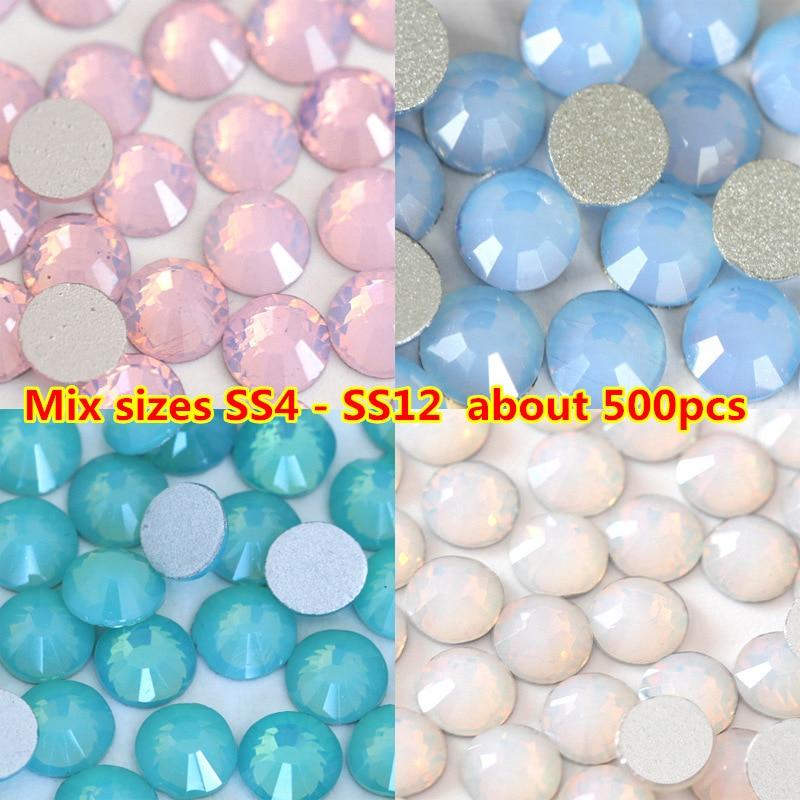 500 unids/pack tamaño de mezcla ss4-ss12 ópalo rosa de cristal de Arte de uñas de diamantes de imitación de Swarovski Cristal Flatback no Hotfix uñas DIY decoraciones