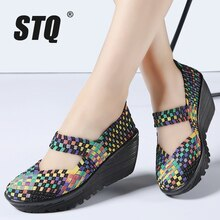 STQ Women Summer Shoes 2020 Women Platform Sandals Shoes Women Woven Shoes Ladies Flat Middle Heels Wedge Beach Sandals 889