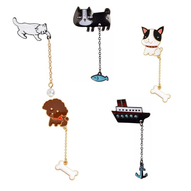 Bola de perlas de gato, hueso de perro, Cactus, planta en maceta, barco de vapor, cadena de animales, borla, broches, insignias para niños, joyería de dibujos animados