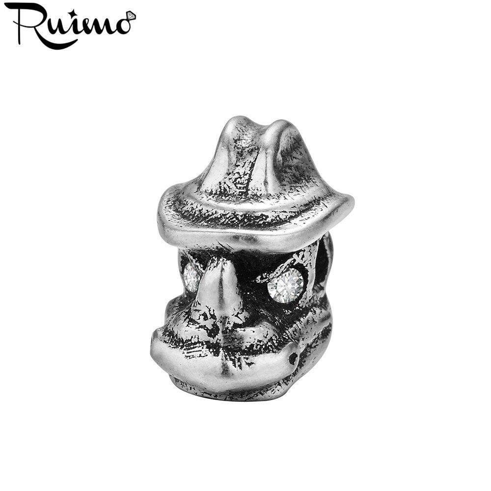 Accesorios de cuentas de rinoceronte RUIMO para hacer joyería, placa de estilo antiguo, cuentas de circón para pulsera DIY, hallazgos de agujero pequeño de 2mm