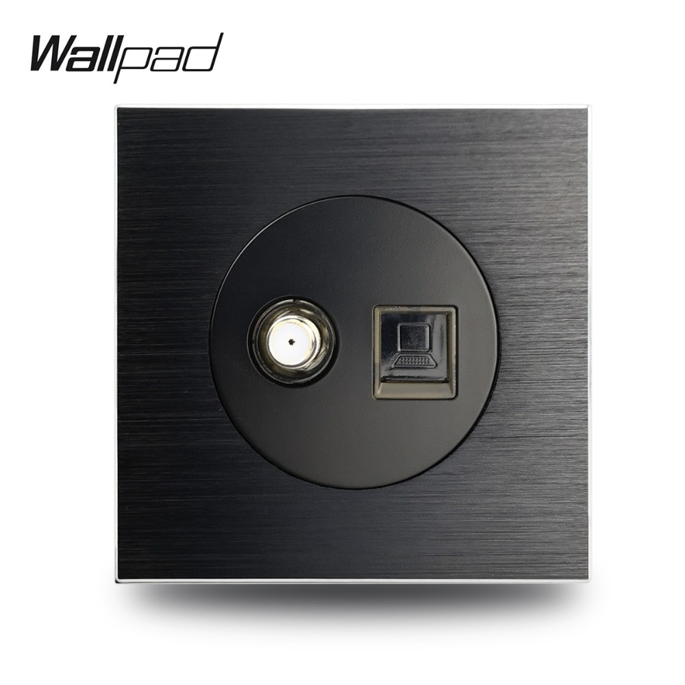 Wallpad L6 prise dantenne de Satellite   En Satin métallique noir, prise de télévision RJ45, données CAT6, prise de câblage dinternet dordinateur, en aluminium brossé
