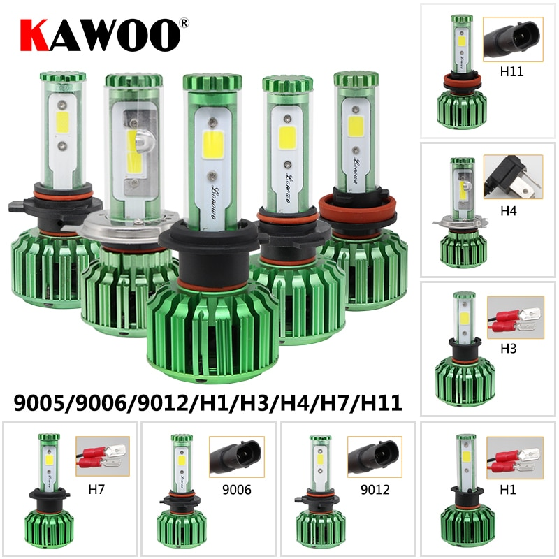 KAWOO K6 9005 9006 H11 H4 9012 H3 H7 H1 Bright Led Headlight Bulbs 12V 6000K Car LED DIY Color Headlamp Fog Light Accessories