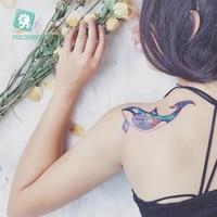 watercolor dolphin temporary tattoo sticker women sketch unicorn colorful peacock wolf fake flash tatoo girl body backside taty