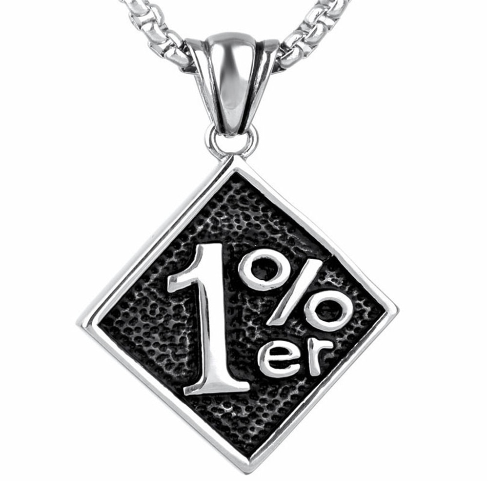Collar de plata 316L Acero inoxidable Outlaw One Percent 1% ER, cadena de 24 pulgadas, collar de motociclista para hombre
