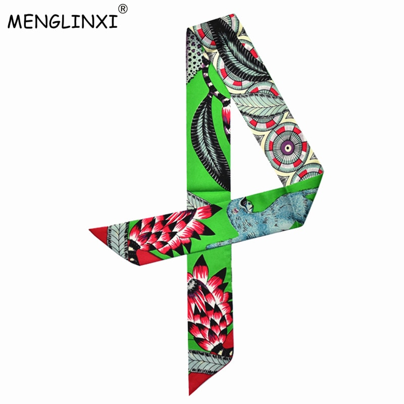 Bolso de leopardo y dibujo de mono bufanda 2020 nuevo Marca novedosa pequeño pañuelo de seda para mujer moda diadema ASA cinta para maleta pañuelos largos