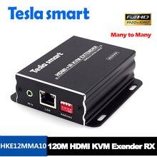Tesla smart beaucoup à beaucoup de réseau IP KVM Extender haute qualité 120m USB HDMI IR KVM Extender par CAT5e/6 tcp/IP (récepteur uniquement)