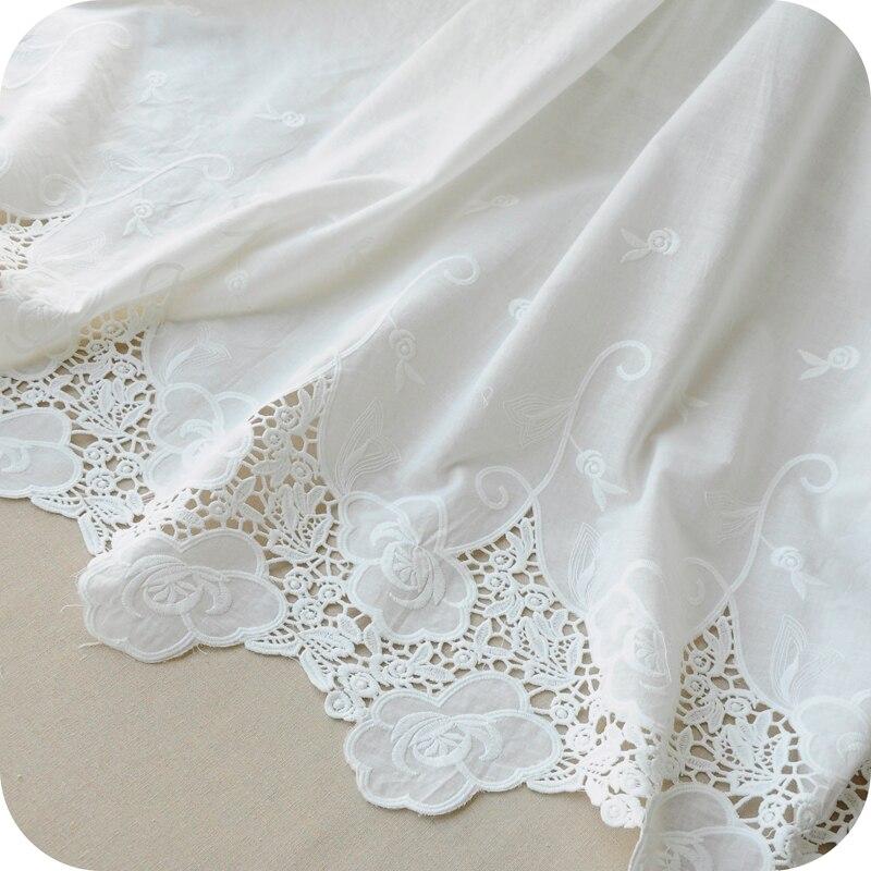 Nuevo Producto N, jardín blanco bordado de puro algodón tela, algodón bud seda bordado