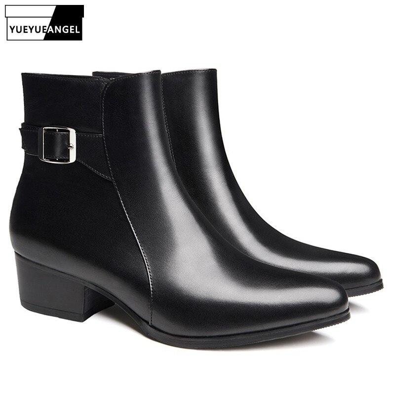 Marca de luxo couro genuíno chelsea botas homens coreano moda fivela meados de bezerro apontou toe botas preto salto alto vestido sapatos novo