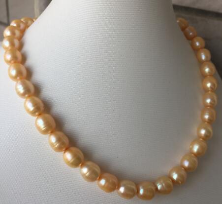 Ожерелье из золотого жемчуга в стиле барокко, 9-10 мм, 18 дюймов, 14k