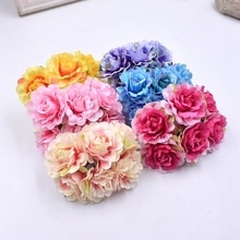 Roses artificielles pivoines 6 pièces/lot   Bouquet de roses en soie pour décoration de mariage maison, couronne idy, mouton artisanat fleur pour décoration