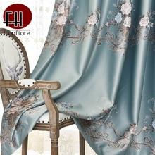 Rideaux occultants en soie   Jacquard de haute précision pour salon chambre à coucher, rideaux de porte à fenêtre modernes, traitement panneau personnalisé