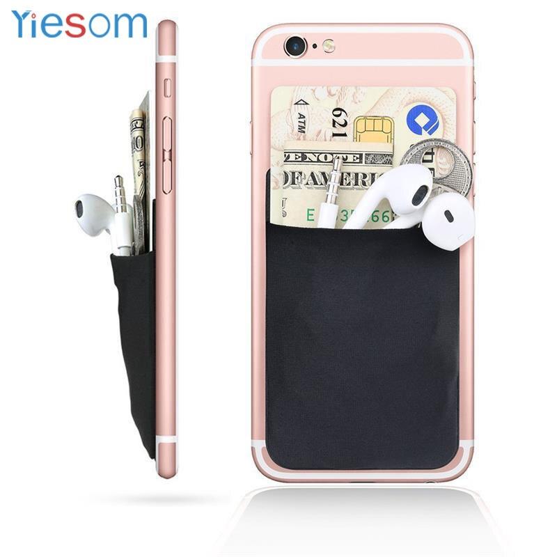 Lycra elástica funda billetera móvil Tarjeta de Identificación de crédito titular de bolsillo Stick en 3M adhesivo negro bolsa flexible funda de tarjeta para iPhone
