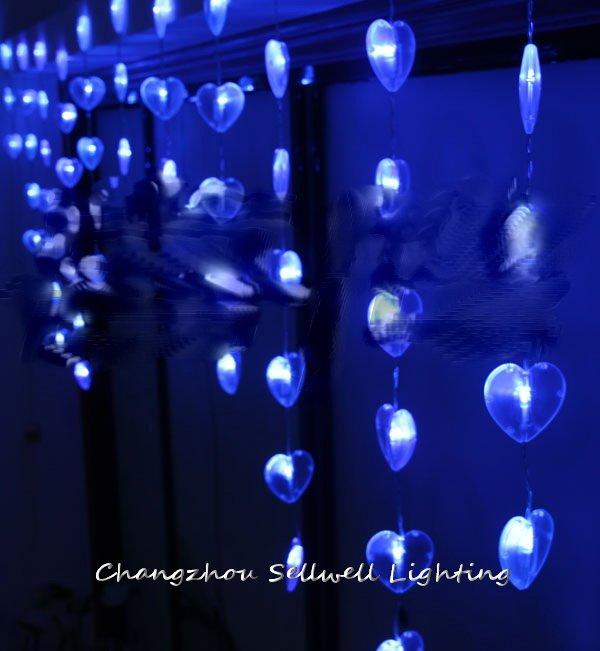 GOOD!LED holiday lighting hotel entrance decoration 90 pcs blue shape of heart bead curtain lamp H145