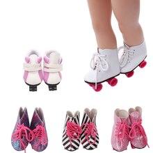 18 inch Ragazze scarpe da bambola Inverno pattini a rotelle Puleggia scarpe di alta scarpa Americano scarpa neonato giocattoli Del Bambino di misura 43 centimetri bambole del bambino s128