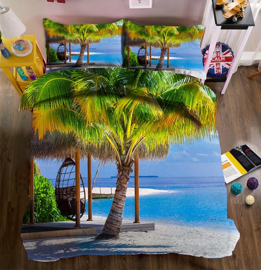 Ropa de cama 3D árbol de coco con vista al mar juegos de cama sábana edredón funda de cama doble Rey reina California rey ropa de cama Textiles