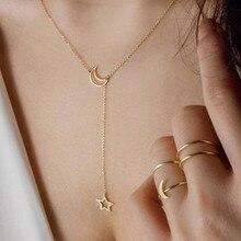 Lune & étoile pendentif collier vente chaude couleur or longue chaîne collier pour les femmes conception Simple bijoux de mode