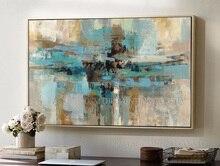 Peinture à lhuile murale abstraite   Peinture à lhuile, peinte à la main, Pure taille roi de bonne qualité, sur toile, peinture à lhuile verte abstraite pour le salon