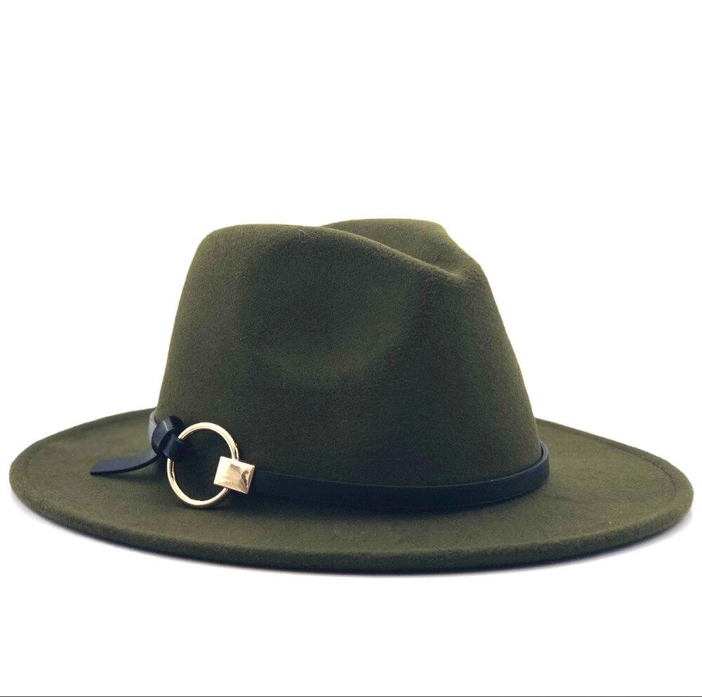 Chapéu tipo fedora, chapéu de lã de feltro com aba larga, chapéu feminino jazz igreja godpai sombero