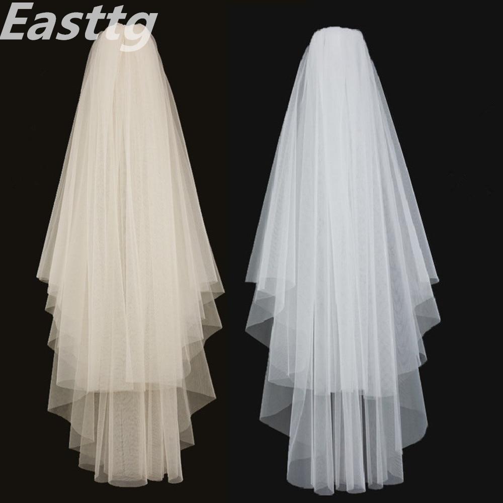 White Ivory Elegant Bridal Veils 2 layers With Comb Cut Edge Soft net Wedding Veil Wedding Accessories Veu de Noiva